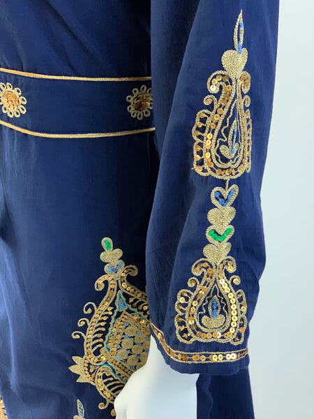 Diya Dress - Navy Blue with Embroidery
