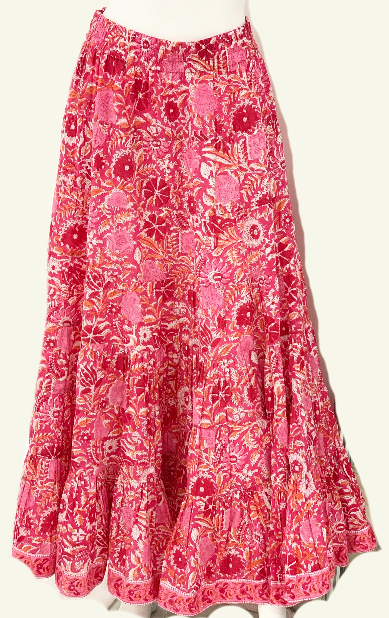 Jaipur Maxi Skirt in Pink and Orange Floral Block Print