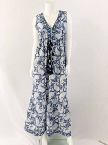 Emily Dress - Navy Paisley