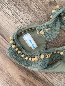 Andi Bagus olive crochet thong bottoms