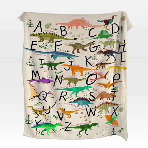 Abc Dinosaur Squiffy Minky Blanket-Water Colour Lotus-Little Squiffy