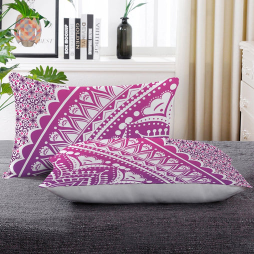 Flamingo Pink Ombre Mandala Pillow Cases-Little Squiffy