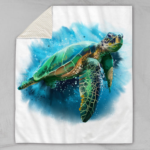 Queen Of Turtles Deluxe Minky Blanket-Queen Of Turtles-Little Squiffy