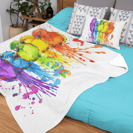 Rainbow Conures Squiffy Minky Blanket-Rainbow Conures-Little Squiffy