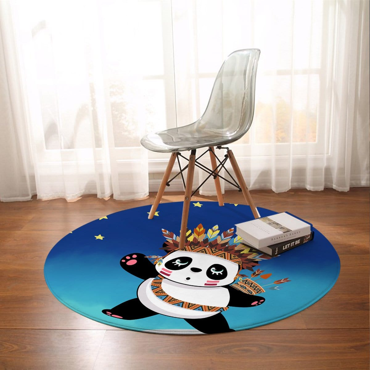 Tribal Panda Round Mat-Tribal Panda-Little Squiffy