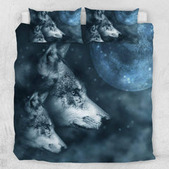 Grey Wolf And Pup Quilt Cover Set-Grey Wolf And Pup-Little Squiffy