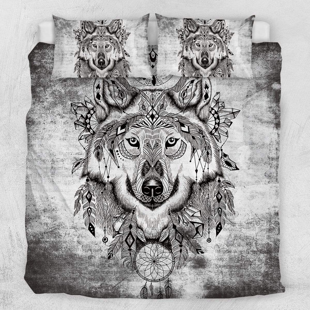 Grey Wolf Dream Catcher Quilt Cover Set-Grey Wolf Dream Catcher-Little Squiffy