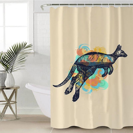 Outback Kangaroo Shower Curtain-Outback Kangaroo-Little Squiffy