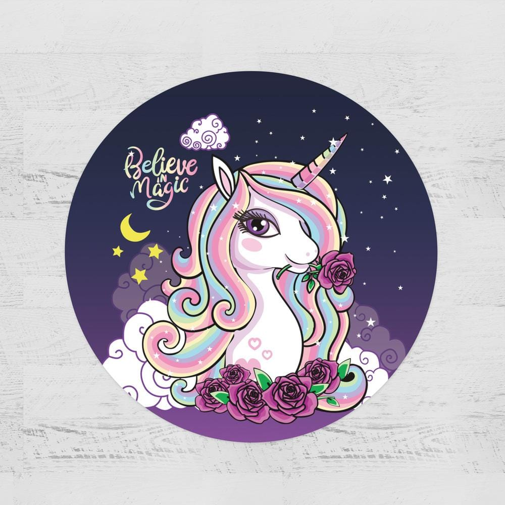 Believe In Magic Unicorn Round Minky Blanket-Believe In Magic Unicorn-Little Squiffy