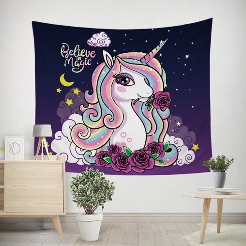 Believe In Magic Unicorn Tapestry-Believe In Magic Unicorn-Little Squiffy