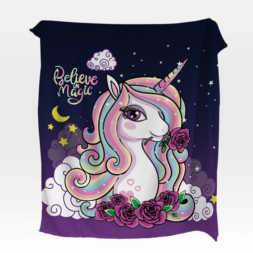 Believe In Magic Unicorn Squiffy Minky Blanket-Believe In Magic Unicorn-Little Squiffy