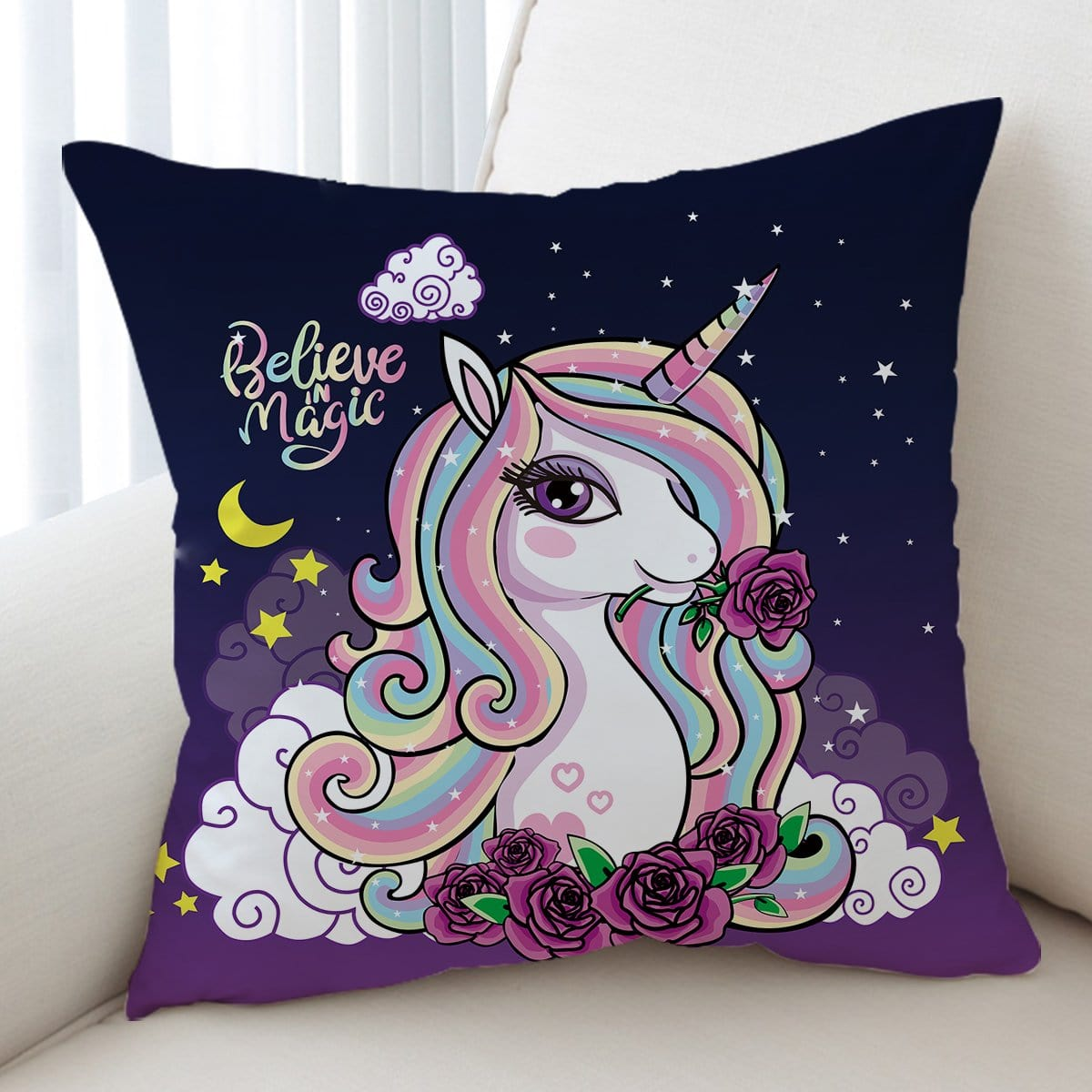 Believe In Magic Unicorn Cushion Cover-Believe In Magic Unicorn-Little Squiffy