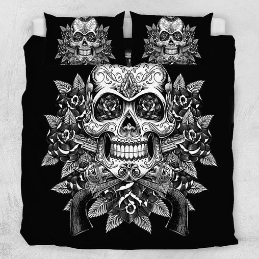 Guns And Roses Skull Quilt Cover Set-Guns And Roses Skull-Little Squiffy