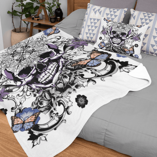 Butterfly Sugar Skull Squiffy Minky Blanket-Butterfly Sugar Skull-Little Squiffy