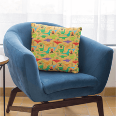 Dinosaur Mania Cushion Cover-Dinosaur Mania-Little Squiffy