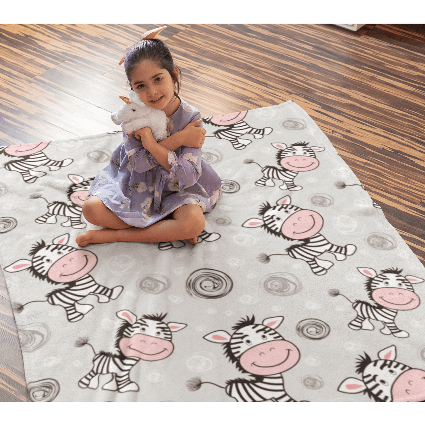 Cute Zebra Squiffy Minky Blanket-Cute Zebra-Little Squiffy