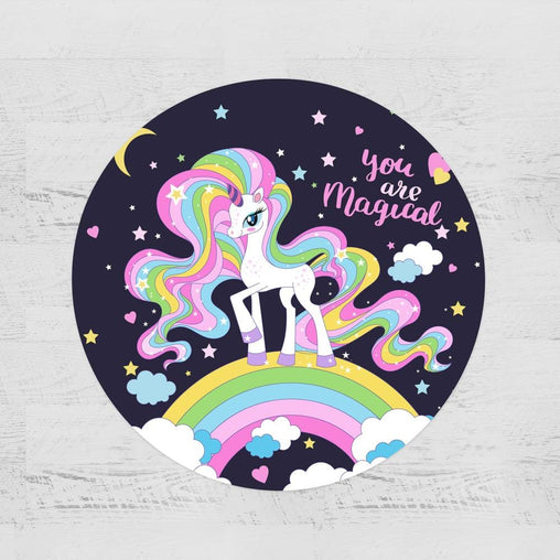 You Are Magical Unicorn Round Minky Blanket-You Are Magical Unicorn-Little Squiffy