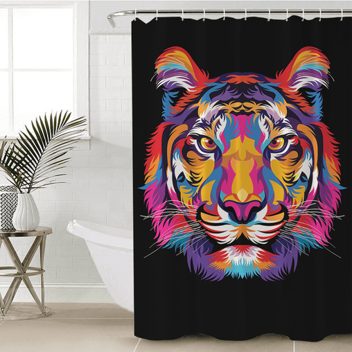 Bright Tiger Shower Curtain-Bright Tiger-Little Squiffy