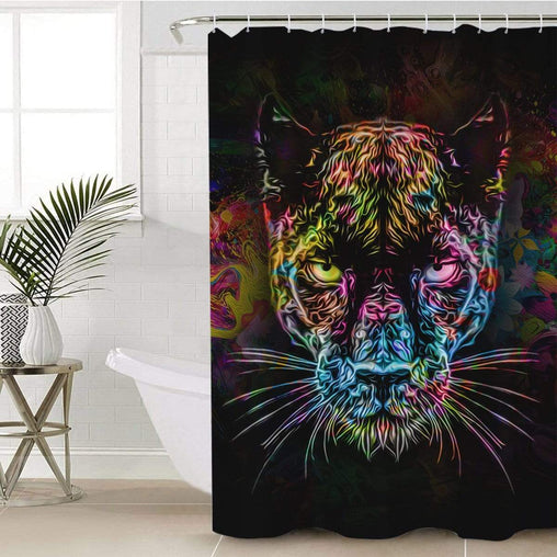 Black Panther Shower Curtain-Black Panther-Little Squiffy