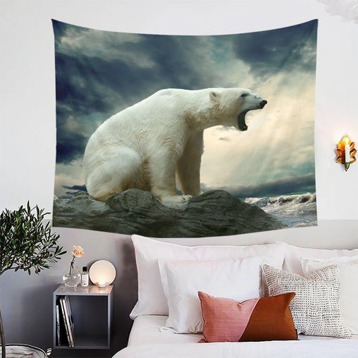 Polar Bear Roar Tapestry-Polar Bear Roar-Little Squiffy