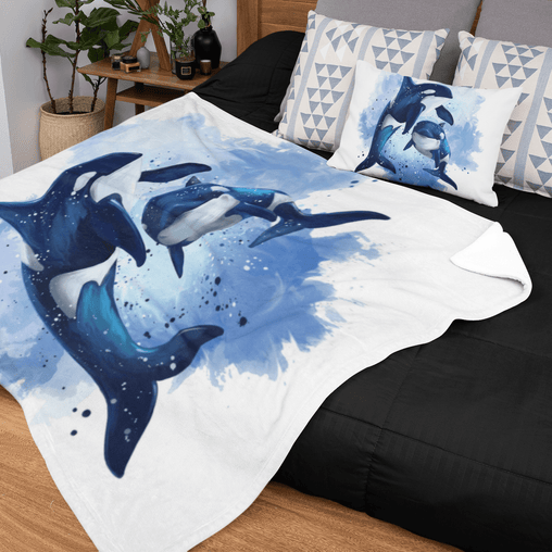 Orcas Of The Sea Squiffy Minky Blanket-Orcas Of The Sea-Little Squiffy