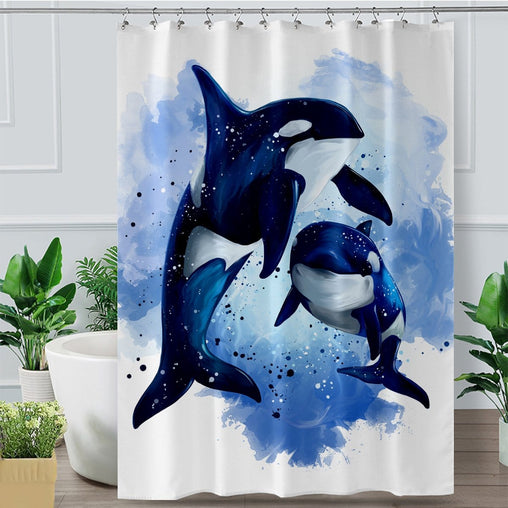 Orcas Of The Sea Shower Curtain-Orcas Of The Sea-Little Squiffy