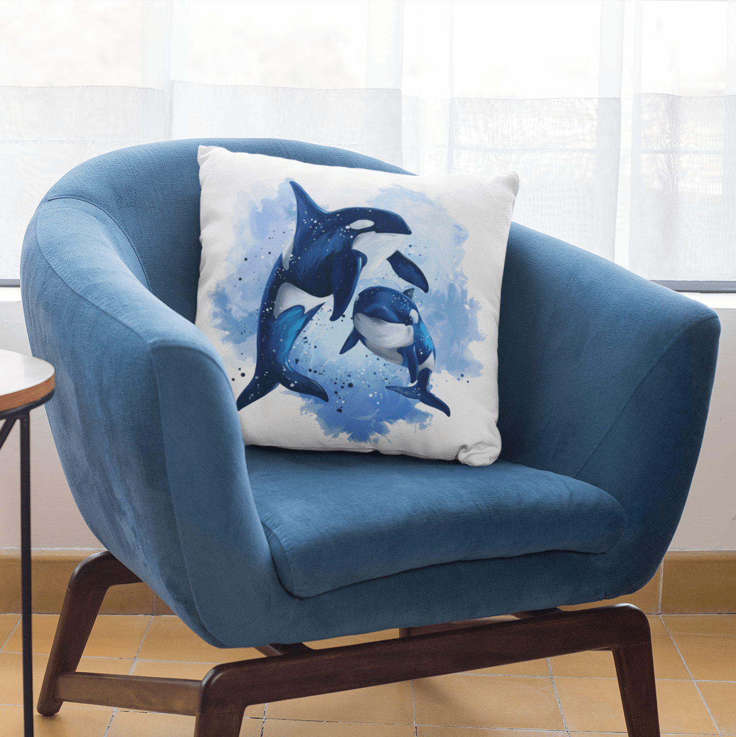 Orcas Of The Sea Cushion Cover-Orcas Of The Sea-Little Squiffy