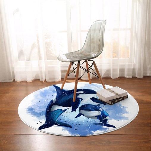 Orcas Of The Sea Round Mat-Orcas Of The Sea-Little Squiffy