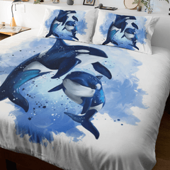 Orcas Of The Sea Quilt Cover Set-Orcas Of The Sea-Little Squiffy