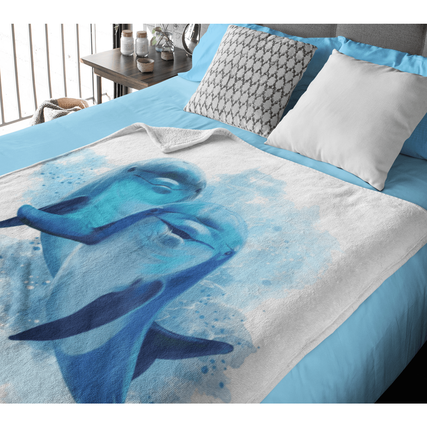 Dolphins Of The Sea Squiffy Minky Blanket-Dolphins Of The Sea-Little Squiffy