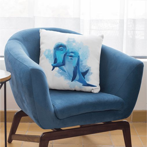 Dolphins Of The Sea Cushion Cover-Dolphins Of The Sea-Little Squiffy