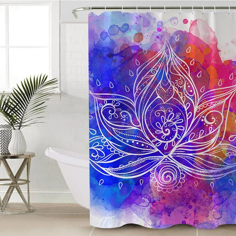 Water Colour Lotus Shower Curtain-Water Colour Lotus-Little Squiffy