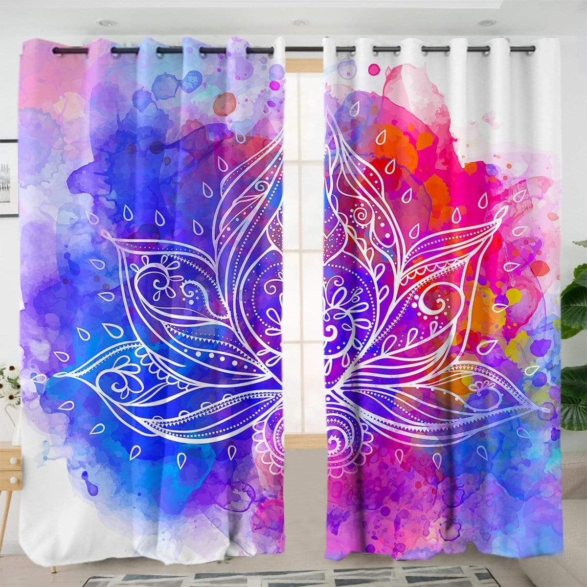 Water Colour Lotus Curtain Set-Little Squiffy