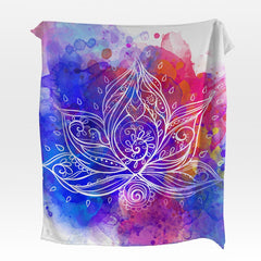 Water Colour Lotus Squiffy Minky Blanket-Water Colour Lotus-Little Squiffy