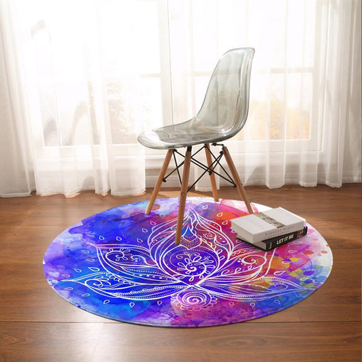Water Colour Lotus Round Mat-Water Colour Lotus-Little Squiffy