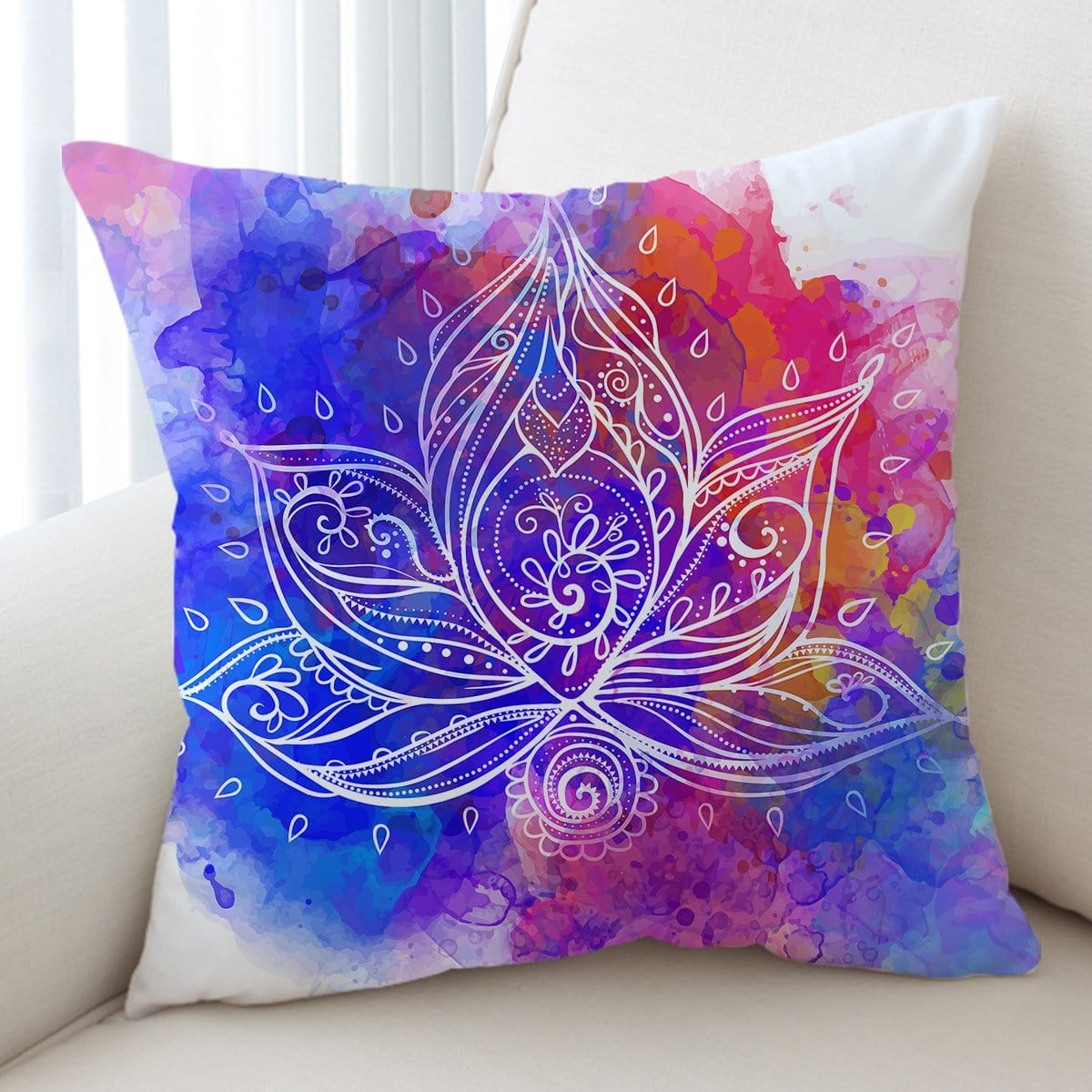Water Colour Lotus Cushion Cover