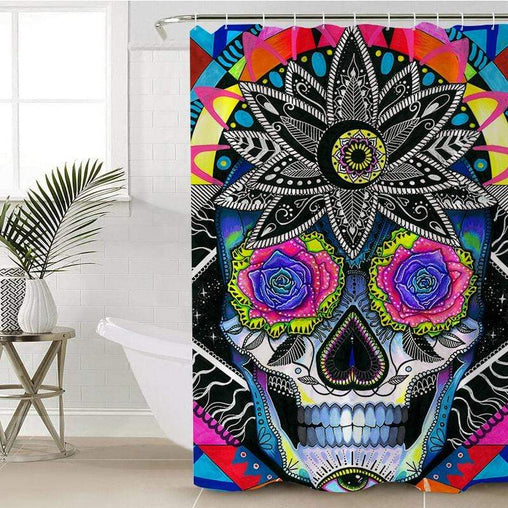 Sugar Skull Shower Curtain-Sugar Skull-Little Squiffy