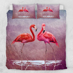 Pink Lake Flamingo Quilt Cover Set-Little Squiffy
