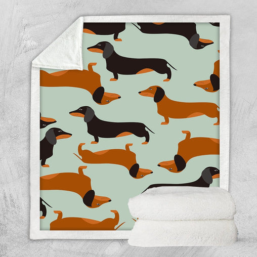 Cartoon Dachshund Blanket-Little Squiffy