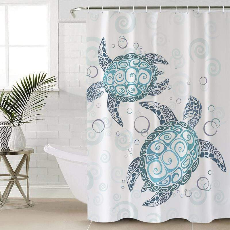 Blue Turtles Shower Curtain-Blue Turtles-Little Squiffy