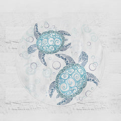 Blue Turtles Round Minky Blanket