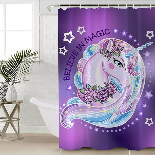 Unicorn Magic Shower Curtain-Unicorn Magic-Little Squiffy