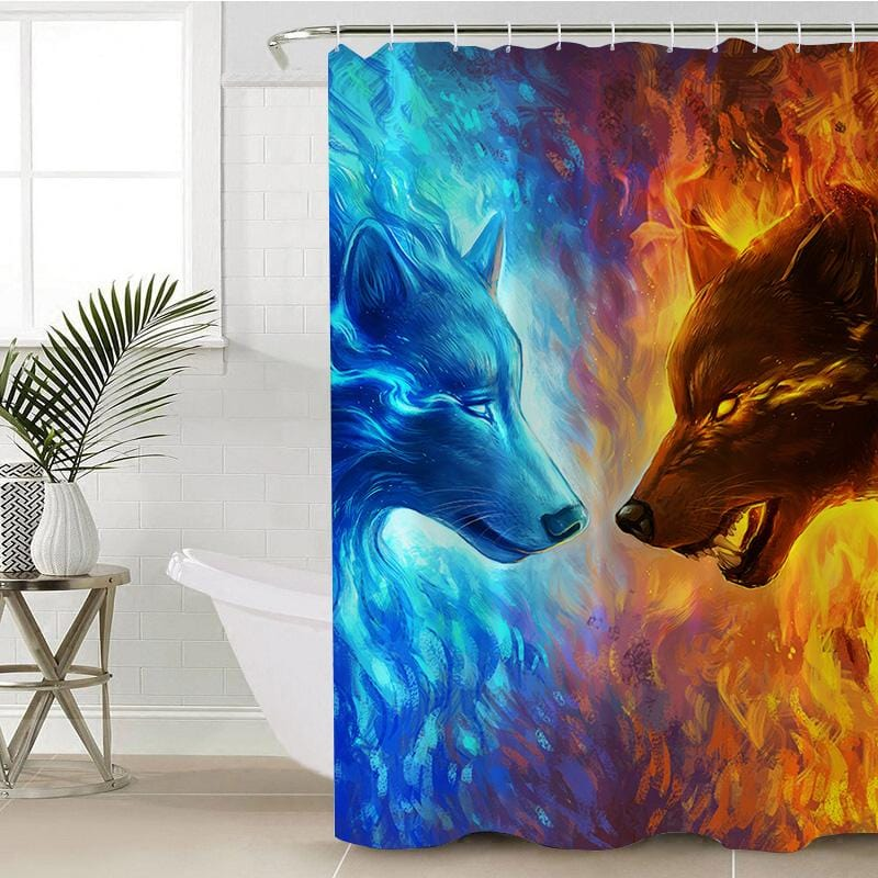 Fire and Ice Shower Curtain-Fire and Ice-Little Squiffy