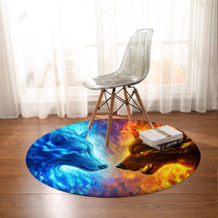 Fire And Ice Round Mat-Fire and Ice-Little Squiffy