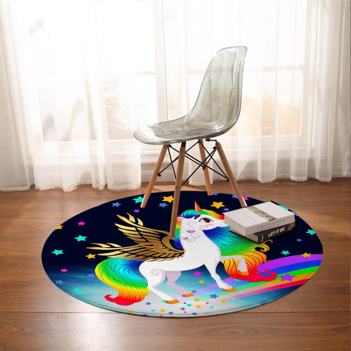 Rainbow Unicorn Round Mat-Rainbow Unicorn-Little Squiffy