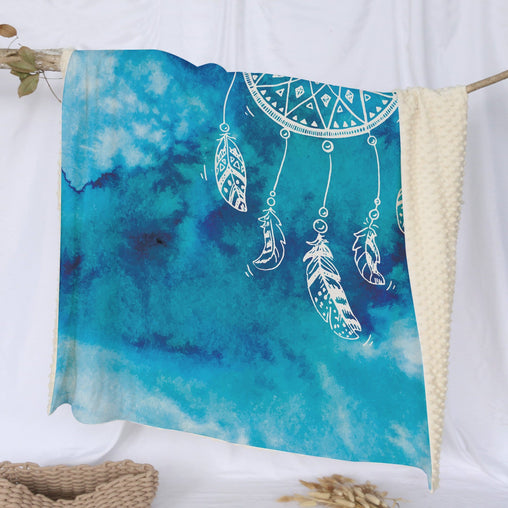 Bahaman Sea Blue Dreamcatcher Deluxe Minky Blanket-Bahaman Sea Blue Dreamcatcher-Little Squiffy