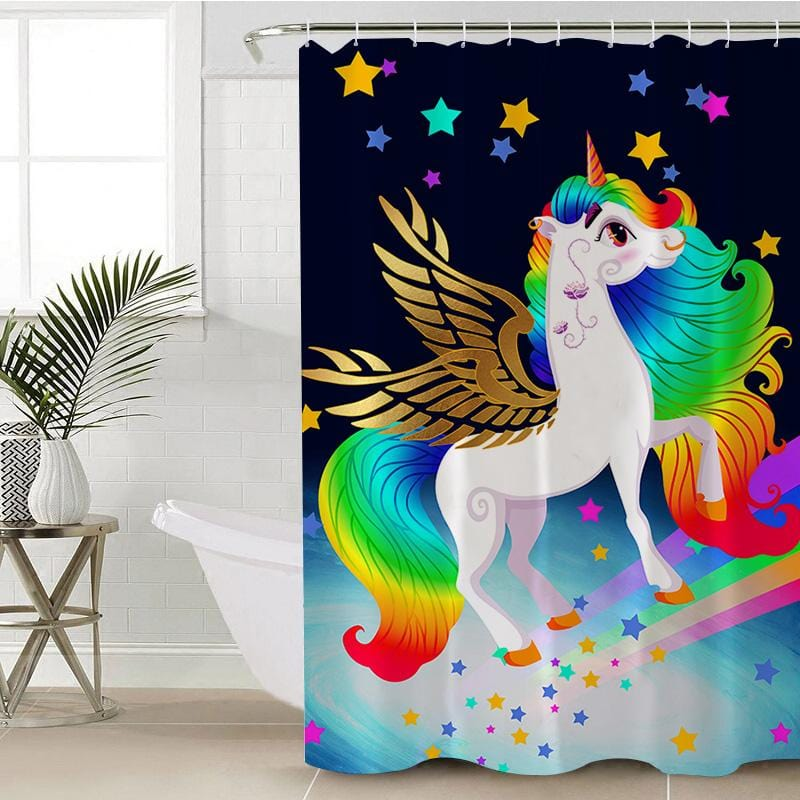 Rainbow Unicorn Shower Curtain-Rainbow Unicorn-Little Squiffy