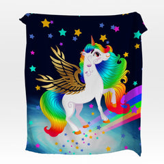 Rainbow Unicorn Squiffy Minky Blanket-Rainbow Unicorn-Little Squiffy