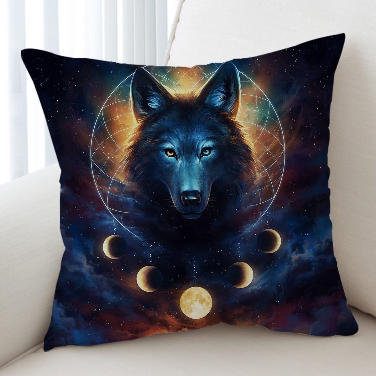Galaxy Wolf Moon Dreamcatcher Cushion Cover