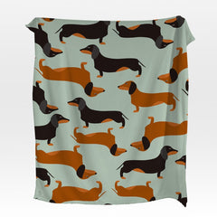 Cartoon Dachshund Squiffy Minky Blanket-Cartoon Dachshund-Little Squiffy